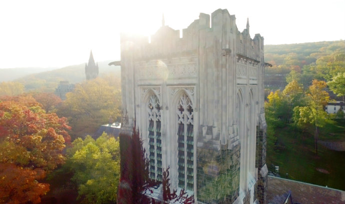 Image taken by drone of Lehigh University's Alumni Memorial Building
